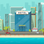 Hotel near sea or ocean resort view vector illustration, flat cartoon hotel building on beach, street road and big skyscrapers town landscape, font view cityscape panorama