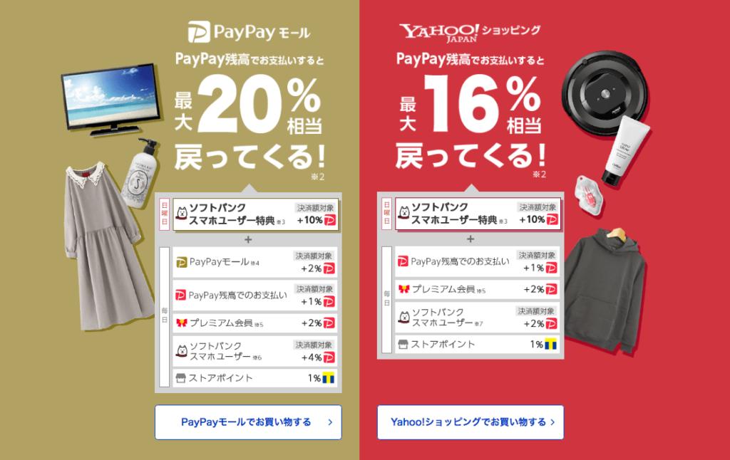 PayPayモール、ポイント還元キャンペーン案内の画像