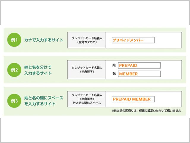 dカードプリペイド使用時の名前入力方法の紹介画像