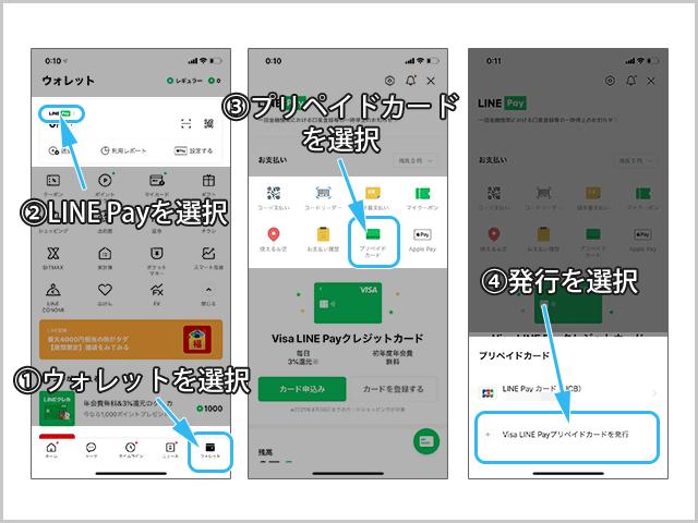 Visa LINE Payプリペイドカードの発行方法 カード選択までの操作手順