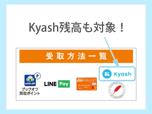 ブックオフでKyash Cardの残高でも買取代金を受け取り可能