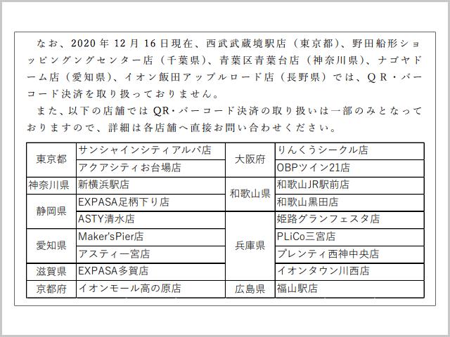 カレーハウスCoCo壱番屋 QR・バーコード決済 未対応・一部利用不可店舗