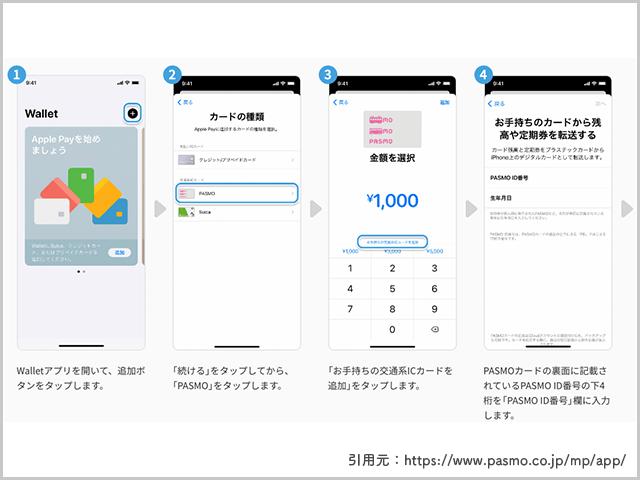 PASMOをiPhone版モバイルPASMOに導入する操作手順の画像