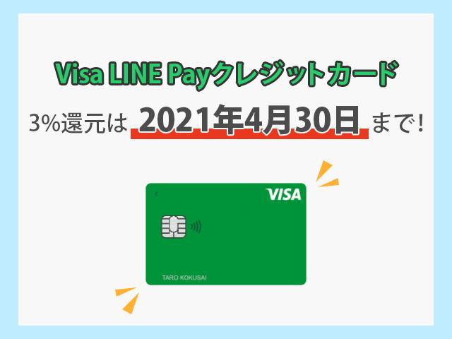 Visa LINE Payクレジットカード 3%還元は2021年4月30日までの告知画像