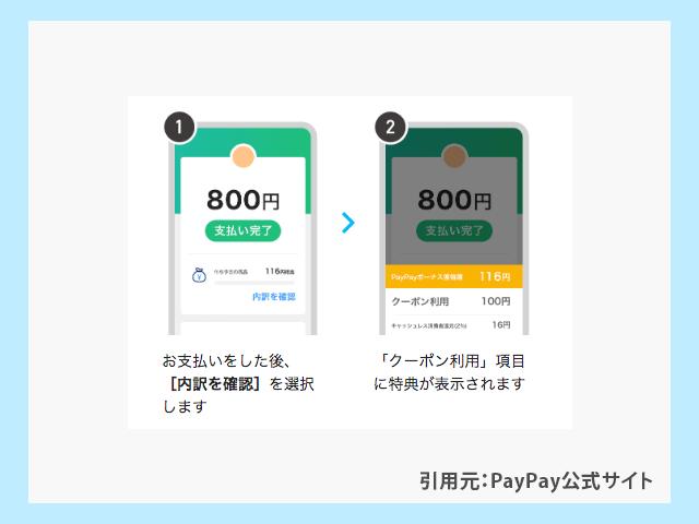 PayPayの支払いにクーポンが適用されたかチェックする操作手順