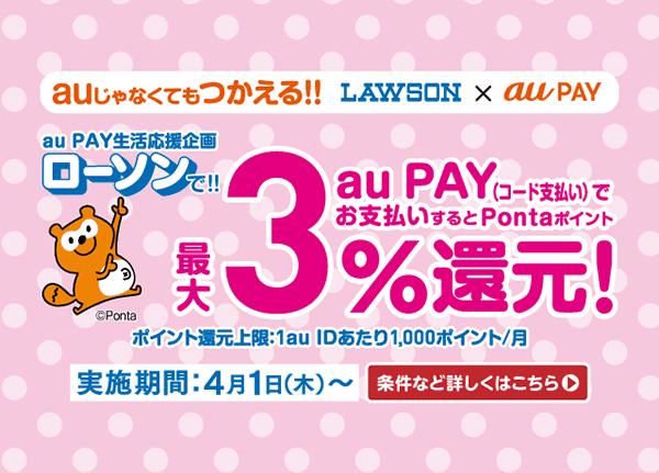 【au PAY】LAWSONで最大3%還元キャンペーン!4月1日から