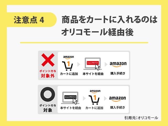 オリコモールでAmazonを利用するときの注意点 【4】商品をカートに入れるのはオリコモール経由後 イメージ画像