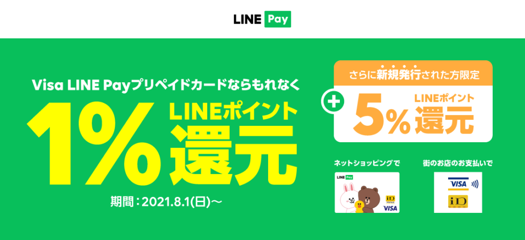 【Visa LINE Payプリペイドカード】ポイント還元開始、8月1日から